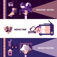 Bannières horizontales de cinéma et de théâtre animé vecteur