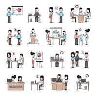 jeu d'icônes d'affaires gens au travail vecteur