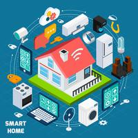 Bannière de concept isométrique Smart home iot