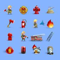 Icônes de dessin animé pompiers ensemble bleu rouge