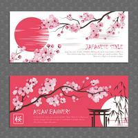 Jeu de bannières horizontales Japan Sakura vecteur
