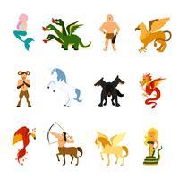 ensemble d'images de créatures mythiques vecteur