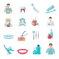 Set d'icônes de couleur plat dents