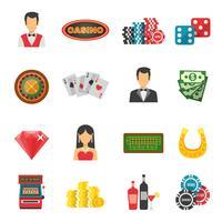 Jeu d'icônes de casino vecteur