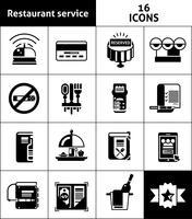 Icônes de service de restaurant noir vecteur