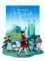 Affiche de gens de la ville vecteur