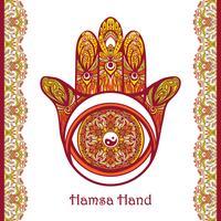Main Hamsa colorée vecteur