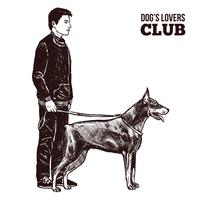 Silhouettes homme et chien