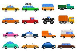jeu d'icônes de voitures vecteur