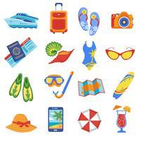 Collection d'icônes plat de vacances d'été