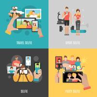 Bannière carrée Selfies 4 icônes plat vecteur