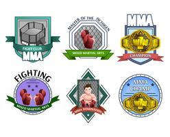 Ensemble d'étiquettes d'emblèmes de combat Mma vecteur