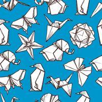 Modèle sans couture chiffres pliés en papier origami vecteur