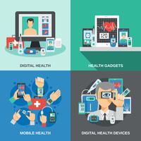 Ensemble de santé numérique vecteur