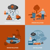 Ensemble d'icônes de problèmes environnementaux