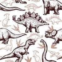 Doodle bicolore modèle sans couture empreintes de dinosaures vecteur