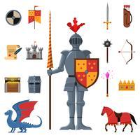Jeu d'icônes plat du royaume médiéval chevaliers vecteur