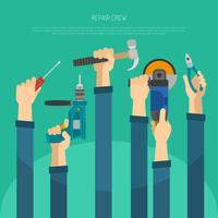 Mains avec outils vecteur