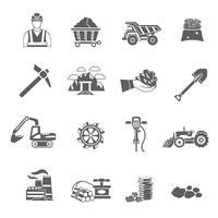 Jeu d'icônes minières vecteur