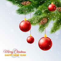 Imprimé de cartes de branches de sapin de Noël décorées