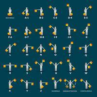 jeu d'icônes alphabet sémaphore vecteur