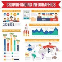 Ensemble d'infographie de crowdfunding vecteur