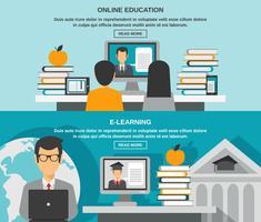 ensemble de bannière d'apprentissage en ligne vecteur