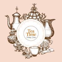 Cadre à thé vintage vecteur