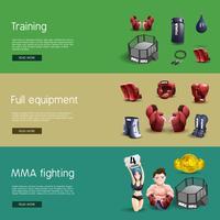 Mma combats ensemble de bannières 3d interactives vecteur