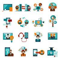 Set d'icônes de l'éducation en ligne vecteur
