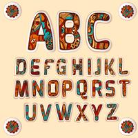 Jeu d'autocollants lettres alphabet couleur Zentangle
