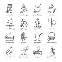 Jeu d'icônes de médecine alternative vecteur