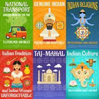 Ensemble d'affiches indiennes vecteur