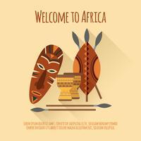 Afrique bienvenue affiche icône plate vecteur