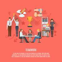 Affiche plate du concept travail d'équipe commercial vecteur