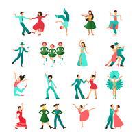 Diverses icônes de l'homme de danse de style vecteur