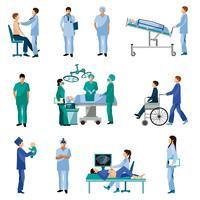 Ensemble d'icônes plat de gens professionnels de la santé vecteur