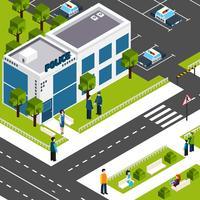 Affiche isométrique du poste de police