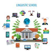 École de langue style plat couleur concept