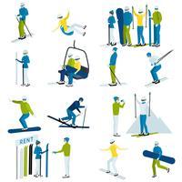 Ensemble d'icônes personnes de la station de ski