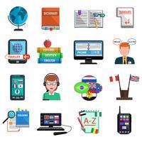 Traducteur multilingue jeu d'icônes plat coloré