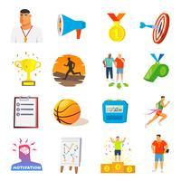 Coaching et icônes plates de sport vecteur