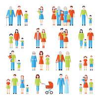 Set d'icônes plat famille vecteur