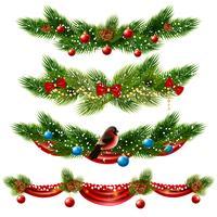 Ensemble de frontières de Noël vecteur