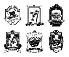 Ensemble d'emblèmes de théâtre noir blanc vecteur