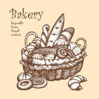 Panier avec boulangerie vecteur