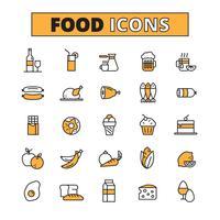 Ligne de nourriture et de boisson set d'icônes vecteur