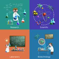Scientifiques dans le laboratoire Icons Set vecteur
