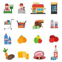 Supermarché Icons Set vecteur