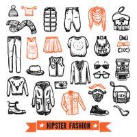 Jeu d'icônes de vêtements de mode hipster doodle